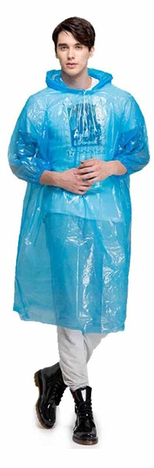 Romano Sky Blue Solid Hooded Raincoat For Men #Raincoat