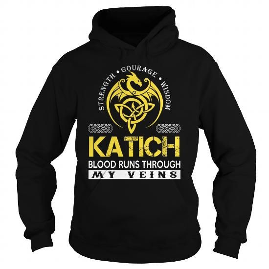 Awesome Tee KATICH Blood Runs Through My Veins (Dragon) - Last Name, Surname T-Shirt T shirts