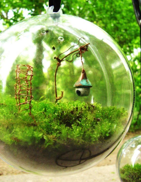Secret Garden Moss Terrarium Globe ~ by DoodleBirdie on Etsy. Love the glass sphere and the tiny birdhouse!