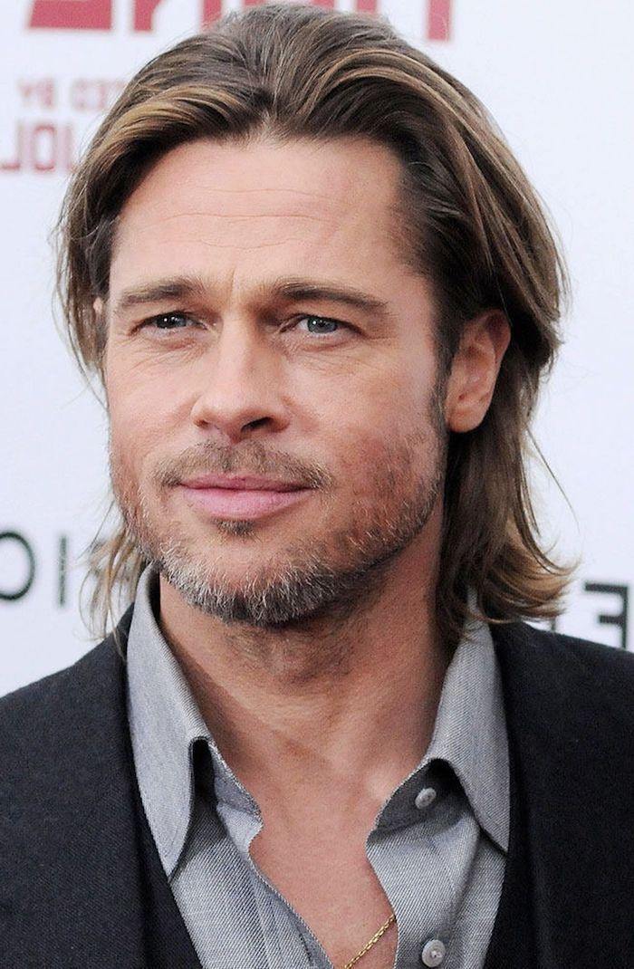Brad Pitt Blonde Hair Grey Shirt Black Blazer Wavy Hair Men In 2020 Long Hair Styles Men Mens Hairstyles Long Hair Styles