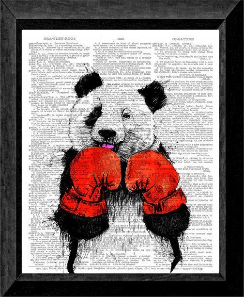 Fighting Boxer Panda Kung-Fu Print on Dictionary Page Art 8x10 Print, Wall art, Mixed media, Up-cycled book