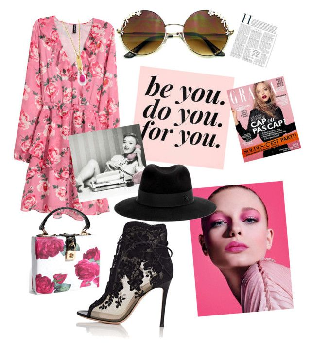 """Pink dress"" by drumeaclementina on Polyvore featuring Gianvito Rossi, Maison Michel and Pink"