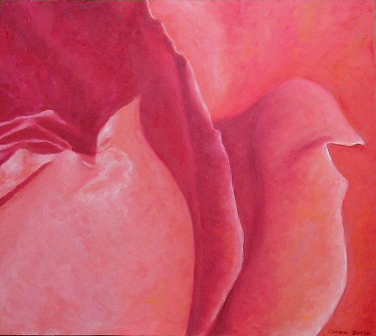 Tableau - Rose - Huile sur bois - 200 €