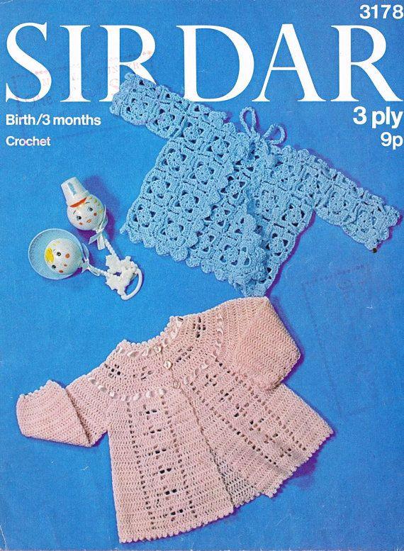 Sirdar 3178 baby matinee coats vintage crochet pattern PDF instant download
