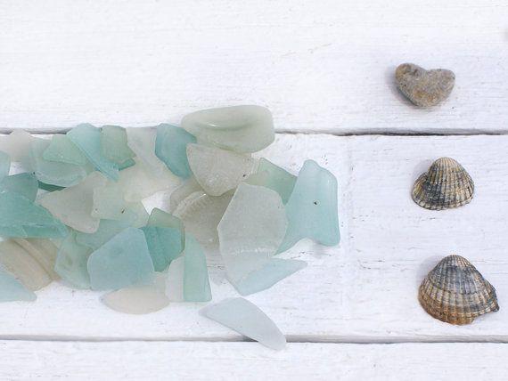 40 Psc Light Blue White Genuine Sea Glass from Azov Sea