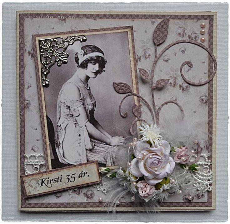 Så ble det et kort laget på bestilling igjen.   Pion ark igjen:):)   Bilde fra nettet.   Tekst pc.   Blonde og perler K&G.   Blomster o...