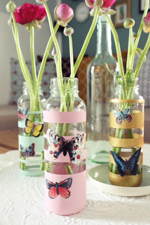 DIY Blumenvasen aus Smoothiegläsern - Upcycling