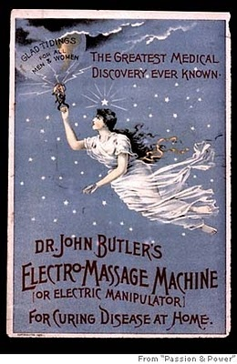 "Yep. An actual ad for a vibrator. Used to cure female ""disease"", aka ""hysteria."" Oh. Em. Gee."