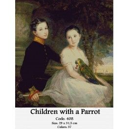 Cross Stitch Kit - Children with a Parrot