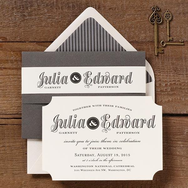 Vintage Ticket Inspired Wedding Invitations Featured In Slate. Custom  PrintingPaper SourcePaper ...