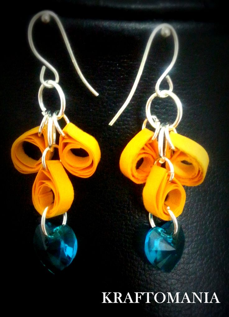 Handmade waterproof quilled earrings  material : acid free paper with swarovski heart shape crystals   KM Q44