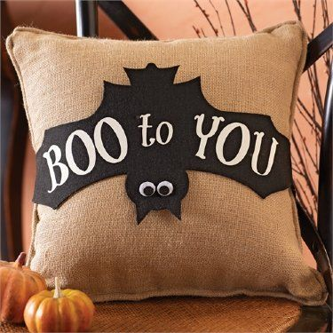 Halloween Boo Pillow Wrap Burlap Pillow Also Available! Now in Stock