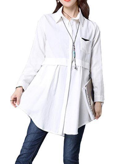 Long Sleeve Turndown Collar Button Closure White Shirt on sale only US$24.95 now, buy cheap Long Sleeve Turndown Collar Button Closure White Shirt at lulugal.com