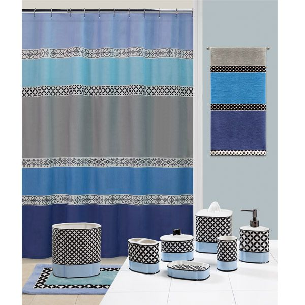 Do you love the blues and grays of Spain? If so, you can recreate Madrid in your bathroom with the Madrid Blue and Gray Shower Curtain and Bathroom Accessories by Creative Bath. This fabulous shower curtain is an easy to take care of 100% cotton material. It features thick horizontal stripes in great shades of blue and gray. The large stripes are offset by smaller stripes featuring black and white colors in geometric designs. The shower curtain can be accentuated with your choice of mat...