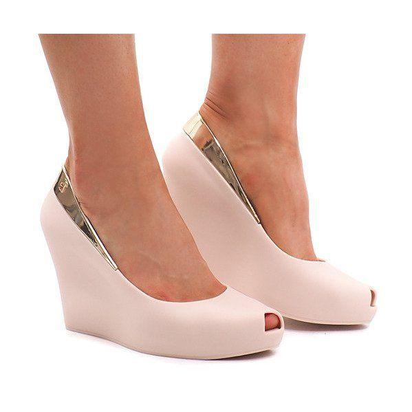 Meliski Na Koturnie Odkryte Km110 Bezowy Shoes Wedges Fashion