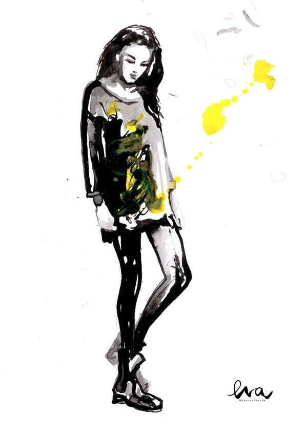 PUNK, a reproduction of an illustration in liquid ink by Eva Lestander #nordicdesigncollective #evalestander #yellow #punk #ink #illustration #liquidink #fashion #fashionposter #swedishdesign #poster #print #reproduction #girl #woman #clothing #garment #nordicdesin #swedishillustrator