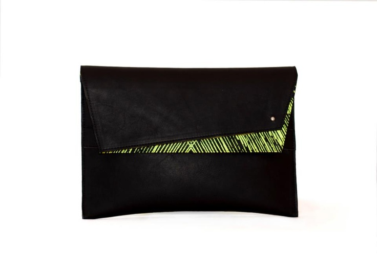 Screenprinted black leather clutch with yellow pattern by BLACKLIST