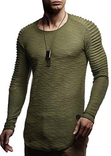 6db45f41d11c Amazon LEIF NELSON Herren Biker Gesteppt Pullover Longsleeve Hoodie  Sweatshirt Sweatshirt Basic Rundhals Langarm Oversize Shirt Hoody Sweater  LN8192  Größe ...