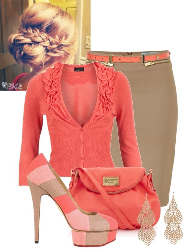 """brown and coral."" by cesmithe ❤ liked on Polyvore"