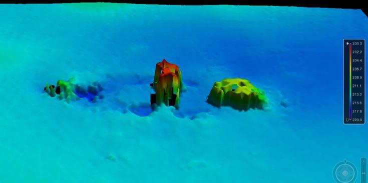 Épave du Mount Taygetus perçu par un sondeur multifaisceau.