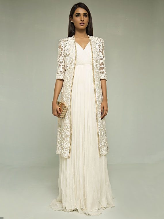 Zaheer Abbas Pleated chiffon dress paired with embroidered jacket in organza with pearls down the length.