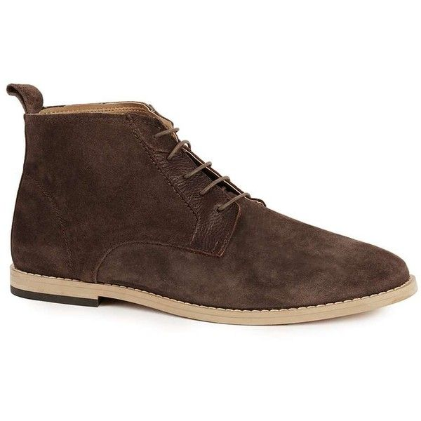 TOPMAN Brown Suede Chukka Boots (£55) ❤ liked on Polyvore featuring men's fashion, men's shoes, men's boots, brown, mens chukka boots, mens suede chukka boots, mens brown chukka boots, mens brown suede shoes and mens shoes chukka boots