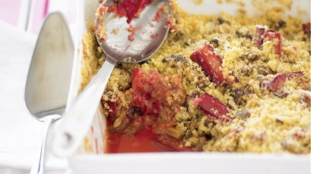 Recipes+ shows you how to make this rhubarb and walnut crumble recipe.