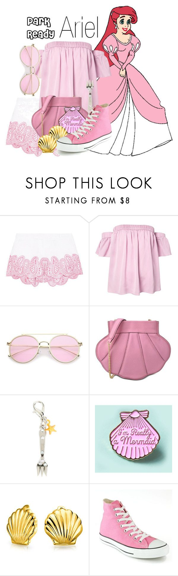 """Ariel~ DisneyBound"" by basic-disney ❤ liked on Polyvore featuring MICHAEL Michael Kors, Milly, Boutique Moschino, Disney, Bling Jewelry and Converse"