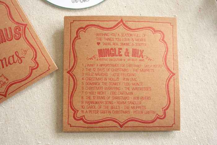 Amazing holiday cards - letterpress mix CD sleeves from Parrott Design Studio