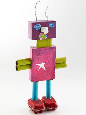 perfect for my little crafting buddy who loves to recycle AND loves robots.  he'll be digging on this project!