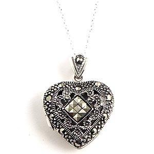 marcasite heart locket