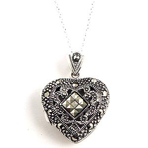 marcasite heart locket