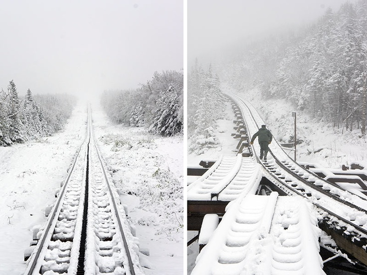 Snowing on the cog railway, Mount Washington, New Hampshire
