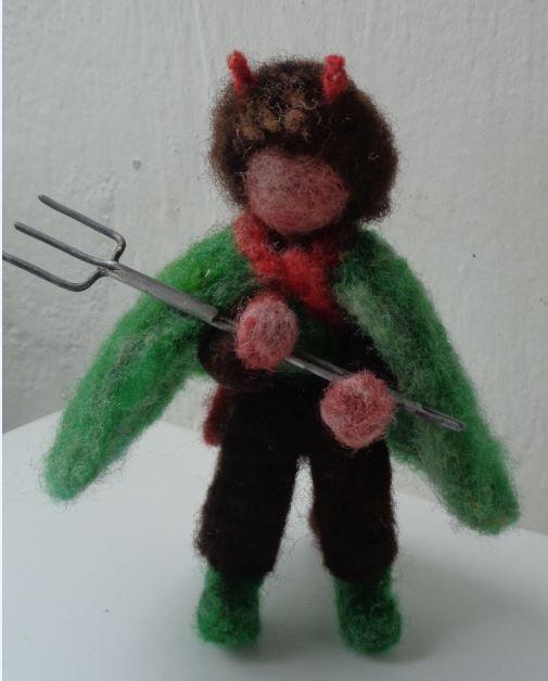 devil - čert zelený 1  vánoce