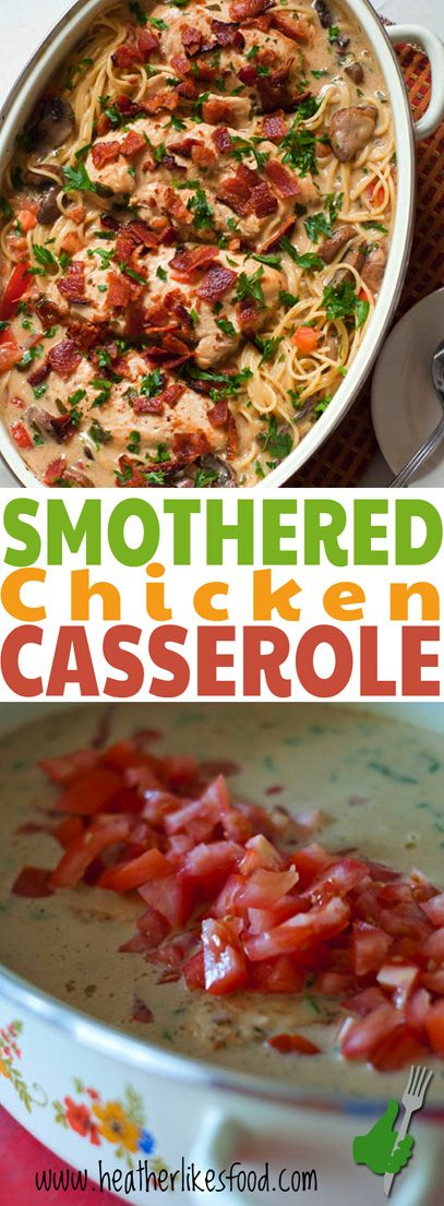 This smothered chicken casserole is rich, decadent, flavorful, and definite show stopper! Perfect for company or for a special meal in.