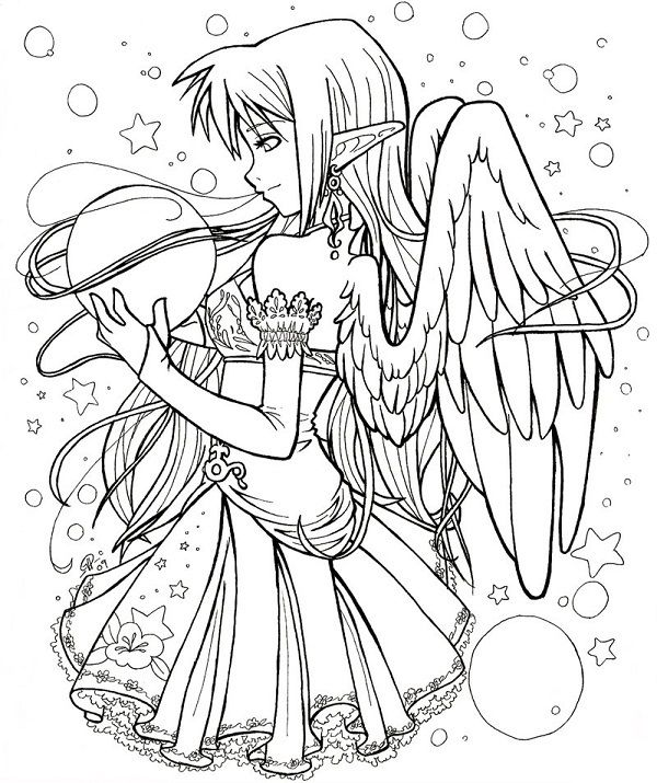printable gothic fairy coloring pages - photo#5