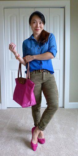 #anthropologie shirt #landsend jeans #ninewest flats #longchamp bag