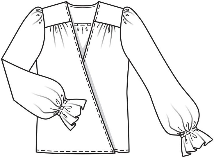 Блузка с запахом - выкройка № 124 из журнала 12/2015 Burda – выкройки блузок на Burdastyle.ru