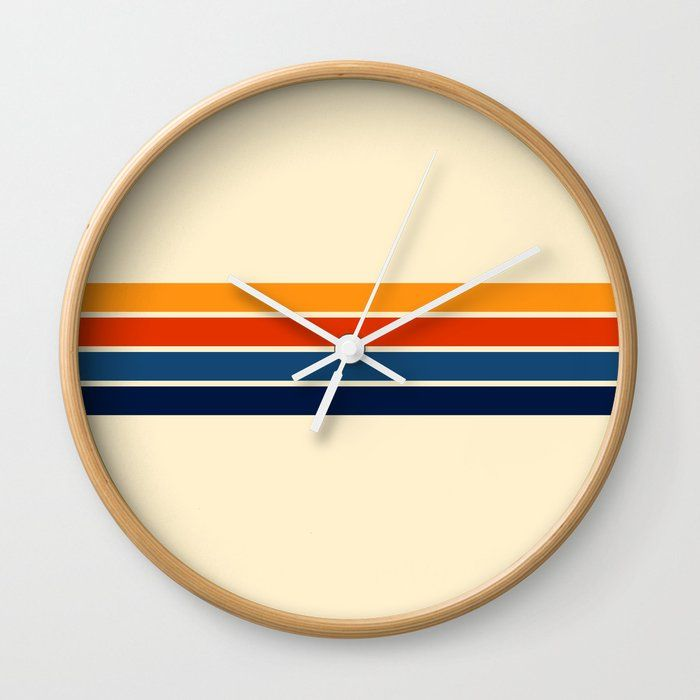 Classic Retro Stripes Wall Clock By Alphaomega Society6 Striped Walls Wall Clock Frame Unique Wall Clocks