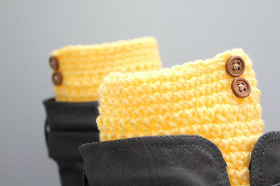 Butter yellow boot cuffslight yellow boot by karliboutique on Etsy, $18.00