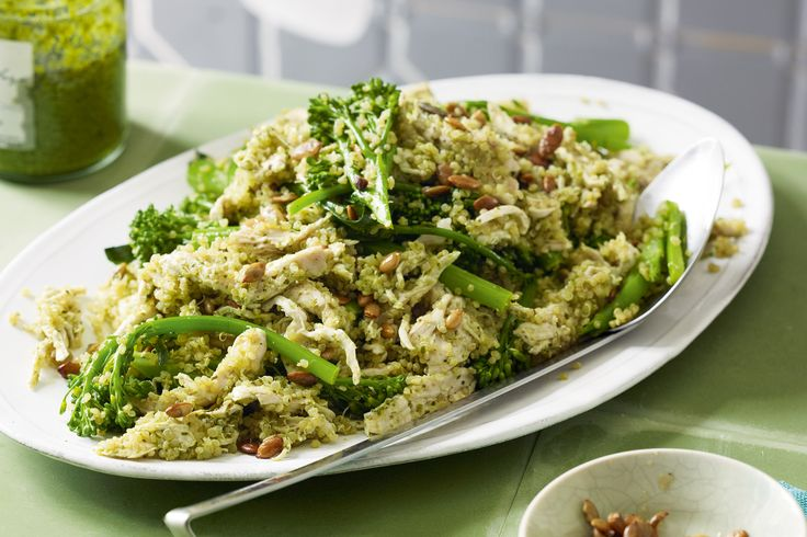 This gluten-free chicken and quinoa salad packs a powerful protein punch http://www.taste.com.au/recipes/29913/poached+chicken+broccolini+pesto+quinoa+gluten+free #chicken #quinoa #glutenfree