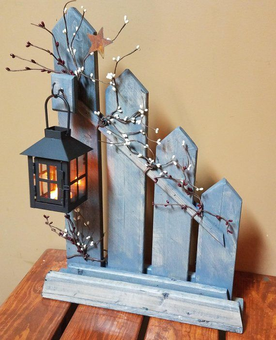 Rustic Home Decor, Primitive, Lantern Candlestick Decor, Rustic Picket Fence, Candle Holder Lantern, Cottage Decor, Country Decor