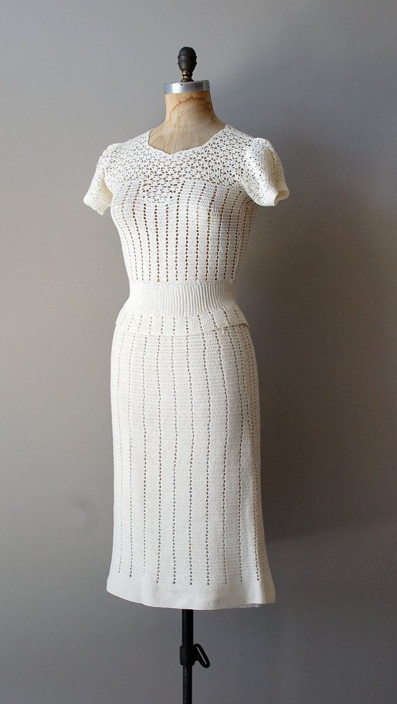vintage 1930s Chalklands handcrochet dress