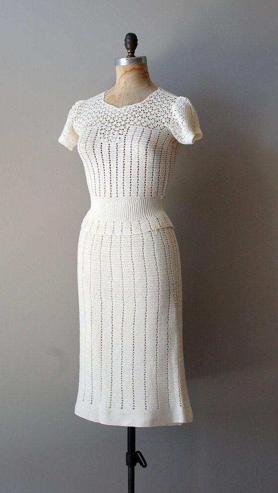 vintage 1930s Chalklands handcrochet dress