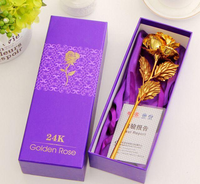 24 k folha de ouro banhado Rose Gold subiram decoração de casamento flor amante do presente do dia dos namorados de Gold mergulhado Rose flor artificial