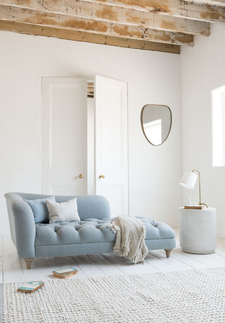 We pick 'n' mixed all our favourite sofa qualities (buttons, pleats and superb amounts of squish) and rolled them into this chaise longue. And then we had a kip.  Dressing room, Chaise, Chaise lounges, sofa, upholstery, blue, elegant, bedroom, beds, slumber, boudoir, dress, changing room