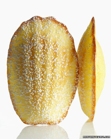 "Lemon Madeleines...""Tiny, tender cakes are enriched with egg yolks and flavored with lemon juice and zest."" So dainty and pretty."