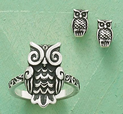 Summer Collection - Woodland Owl Ring, Owl Ear Posts #JamesAvery