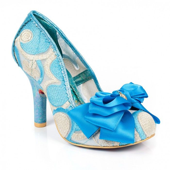 New Irregular Choice Ascot Blue/Cream Fabric/PU High Heel Court Shoe Sale