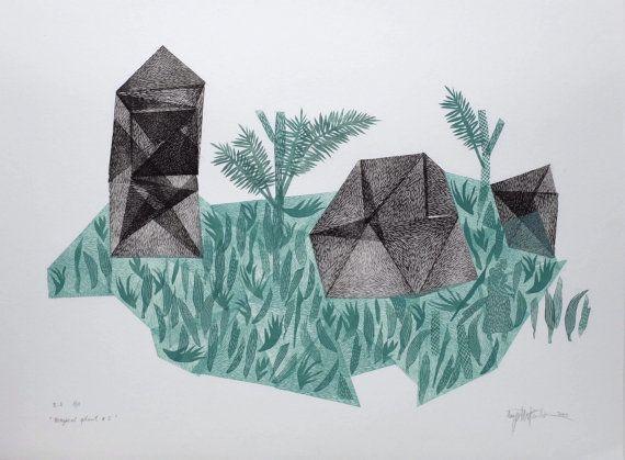 Magical plant no.5 original linocut monotype by paulinavarregn